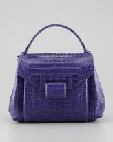 Nancy Gonzalez Crocodile Flap-Front Small Satchel Bag, Purple