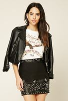 Forever 21 FOREVER 21+ Studded Faux Leather Mini Skirt