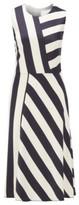 HUGO BOSS - Midi Length Block Stripe Dress In Crinkle Crepe - Patterned