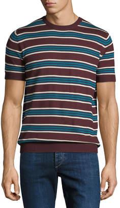 Prada Striped Silk-Blend Short-Sleeve Sweater