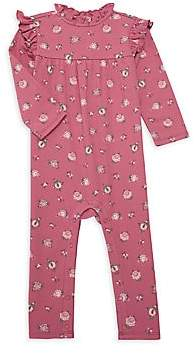 Janie and Jack Baby Girl's Floral Ruffle Cotton Coverall
