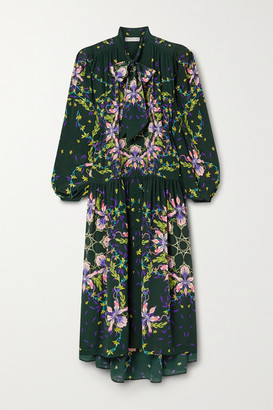 Givenchy Pussy-bow Floral-print Silk Crepe De Chine Gown - Emerald