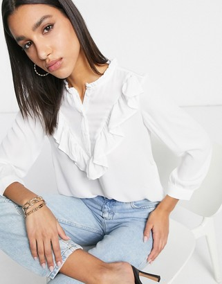 Only high collared ruffle detail blouse in white