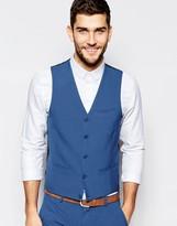 Asos Wedding Waistcoat In Mid Blue