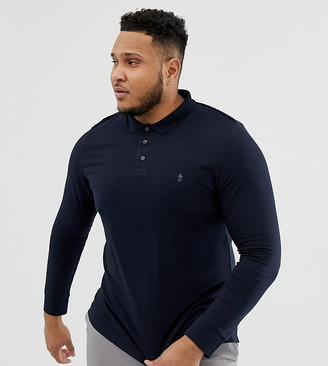 French Connection PLUS Long Sleeve Jersey Logo Polo Shirt-Navy