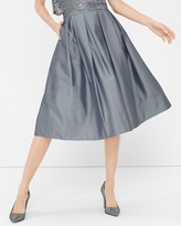 White House Black Market Pleated Taffeta Midi Skirt