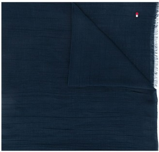 Tommy Hilfiger Logo Embroidered Frayed Scarf