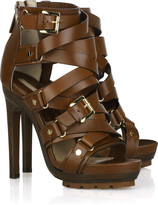 Strappy buckled leather sandals