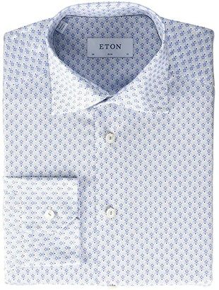 Eton Slim Fit Micro Print Button-Down (Blue) Men's Clothing