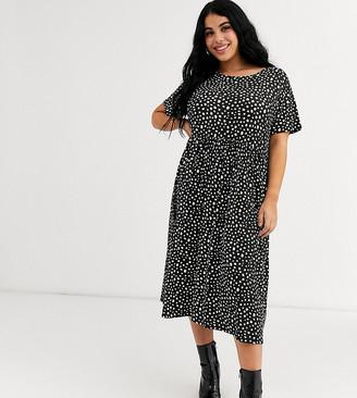 Wednesday's Girl Curve midi smock dress in smudge polka dot