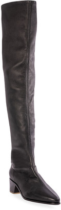 Black Suede Studio Amy Stretch Leather Thigh-High Boots