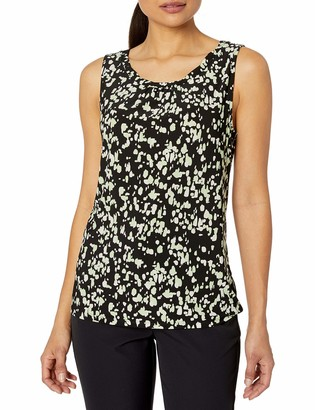 Kasper Women's Petite Sleeveless Paint Drops Printed Twist Neck Knit CAMI