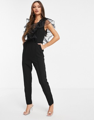 Rare London v neck jumpsuit with frill detail in black