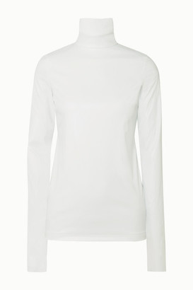 we11done Faux Leather Turtleneck Top - Ivory