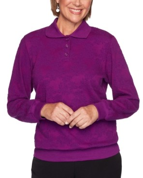 Alfred Dunner Petite Floral-Jacquard Polo Shirt