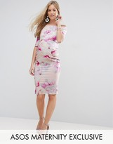 Asos Bardot Dress with Half Sleeve in Pink Floral Print