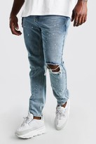 boohoo Mens Grey Big And Tall Skinny Fit Busted Knee Jean, Grey
