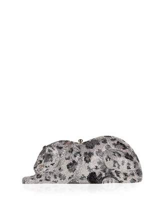 Judith Leiber Couture Wildcat Snow Leopard Crystal-Embellished Evening Clutch Bag, Silver