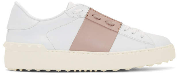 Valentino White and Pink Garavani Open Sneakers