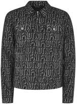 Topman Mens Black Printed Denim Jacket