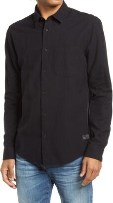 Scotch & Soda Trim Fit Solid Button-Up Flannel Shirt