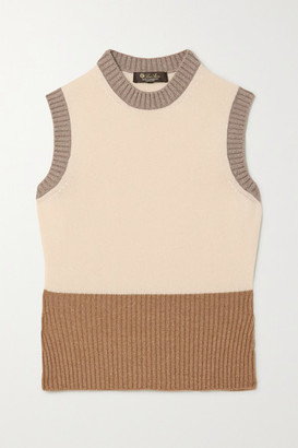 Loro Piana Color-block Ribbed Cashmere Sweater - Ivory