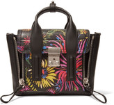 3.1 Phillip Lim The Pashli Mini Printed Leather Trapeze Bag - Black