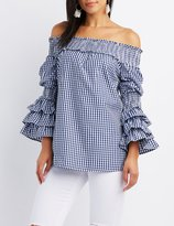 Charlotte Russe Gingham Off-The-Shoulder Tunic Top