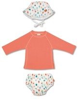 Lassig Toddler Girl's Two-Piece Rashguard Swimsuit & Hat Set