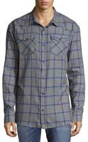 ProjekRaw Windowpane Cotton Casual Button-Down Shirt