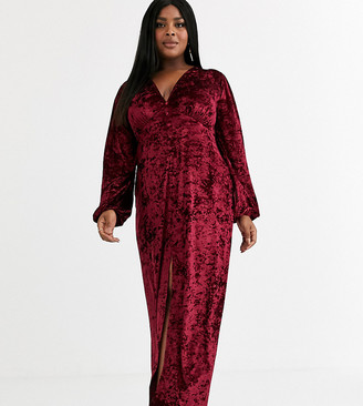 Asos DESIGN Curve long sleeve button through velvet maxi dress-Red