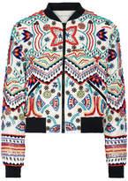 Alice + Olivia Lonnie Embellished Silk-chiffon Bomber Jacket - Cream