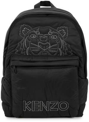 Kenzo Black Logo-embroidered Nylon Backpack
