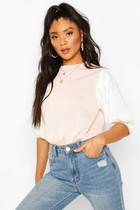 boohoo Lace Contrast Sleeve T-Shirt