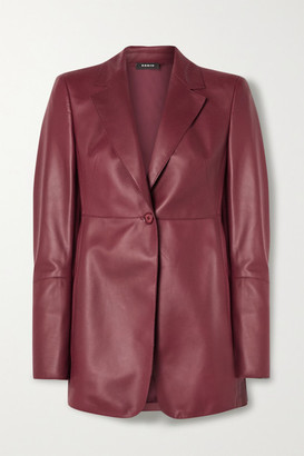 Akris Leather Blazer - Burgundy