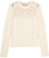 RED Valentino Swiss Dot Tulle-paneled Cable-knit Sweater - Cream