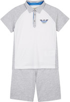 Armani Junior Logo cotton polo shirt & shorts 4-16 years