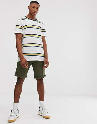 Jack and Jones Originals dropped shoulder horizontal stripe t-shirt in white