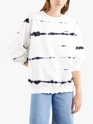 Levi's Melrose Slouchy Fit Crew Neck Tie-Dye Lines Sweatshirt, White