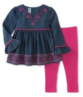 Kids Headquarters Little Girls Embroidered Top and Plain Leggings Set