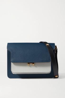 Marni Trunk Medium Color-block Textured-leather Shoulder Bag - Navy