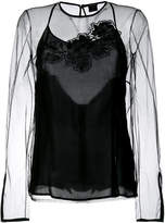 Versace sheer floral embroidered top