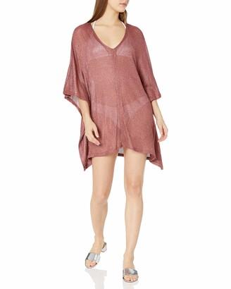 BCBGMAXAZRIA Women's Open Side V-Neck Tunic Shimmer Cover-Up