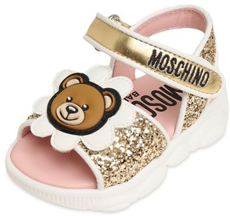 Moschino Glittered Sandals W/ Daisy Bear