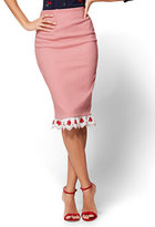 New York & Co. 7th Avenue Pull-On Pencil Skirt - Cherry Detail