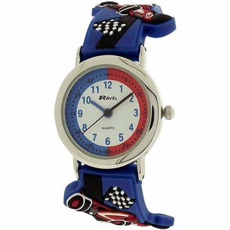 Ravel Children's 3D Blue Racing Car Time Teacher Watch