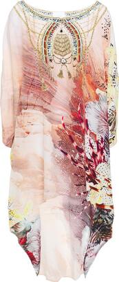 Camilla Coastal Treasure Asymmetric Embellished Printed Silk Crepe De Chine Dress