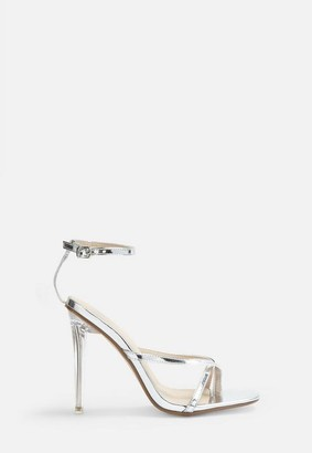 Missguided Silver Toe Post Minimal Strap Heeled Sandals
