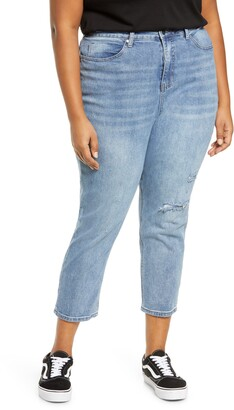 BP High Waist Distressed Straight Leg Jeans