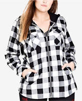 City Chic Trendy Plus Size Check Mate Hooded Jacket